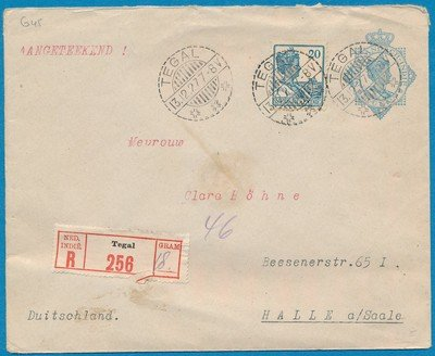 NETHERLANDS EAST INDIES R envelope 1927 Tegal