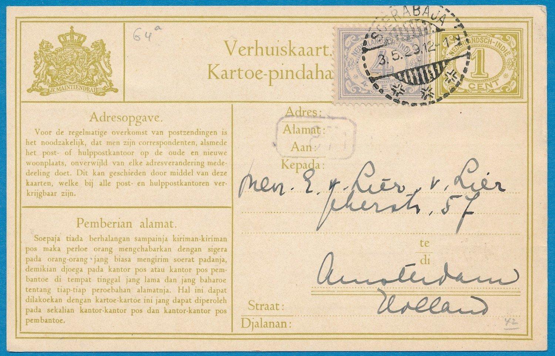 NETHERLANDS EAST INDIES change of address card 1929 Soerabaja