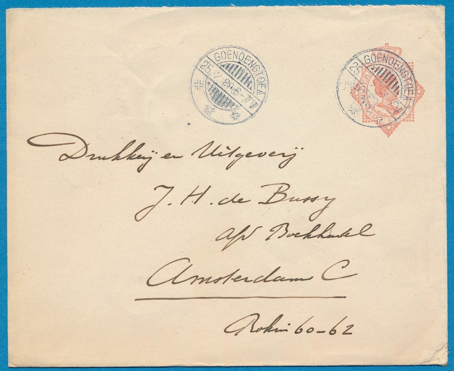 NETHERLANDS EAST INDIES envelope 1929 Goenoengtoea