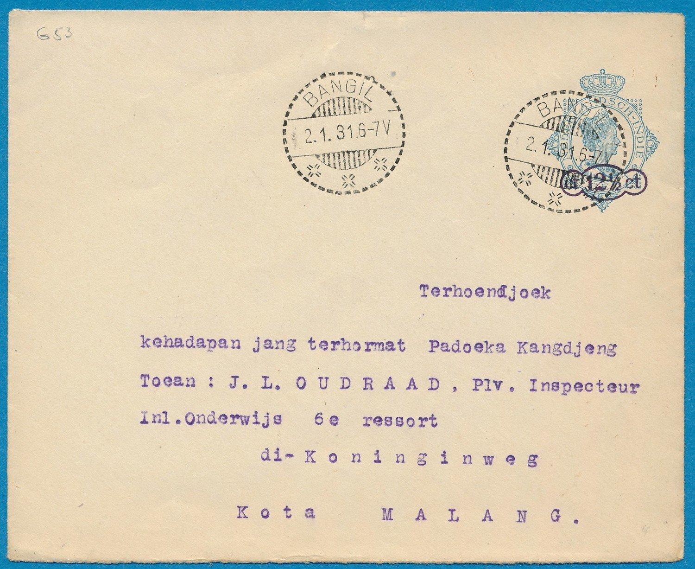 NETHERLANDS EAST INDIES envelope 1931 Bangil