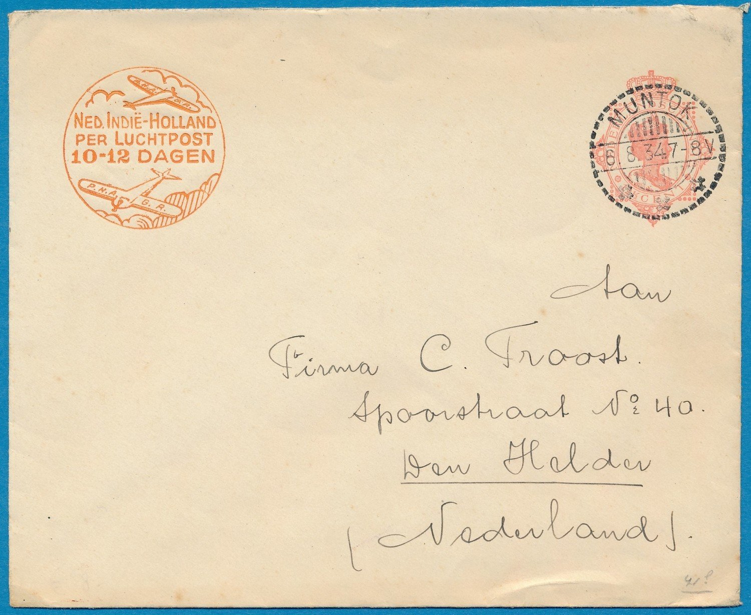NETHERLANDS EAST INDIES envelope 1934 Muntok