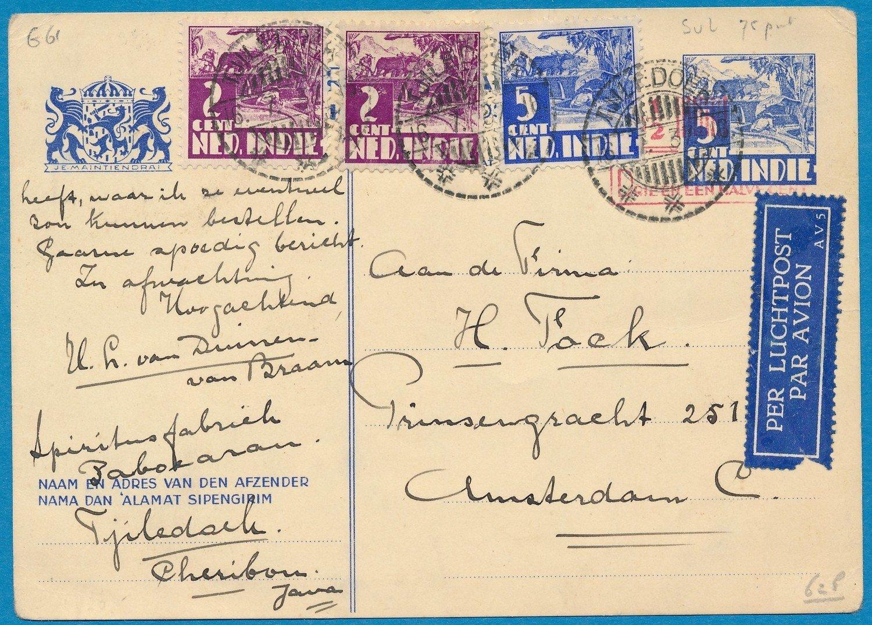 NETHERLANDS EAST INDIES air card 1937 Tjiledoek