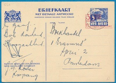 NETHERLANDS EAST INDIES card with reply 1937 Koepang