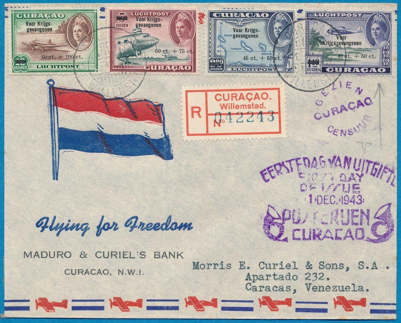 CURAÇAO R censor FDC 1-12-1943 to Venezuela