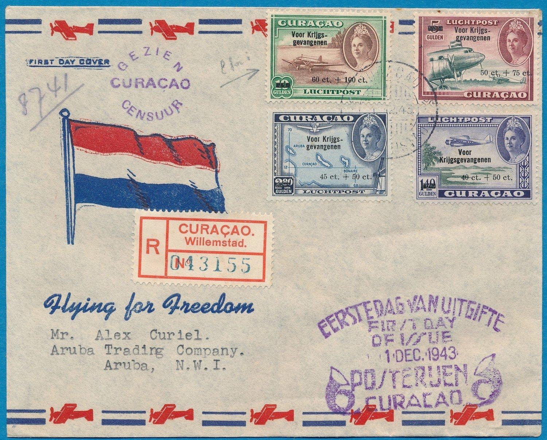 CURAÇAO censored R FDC 1-12-1945 to Aruba