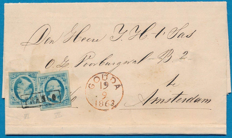 NEDERLAND brief 1863 Gouda naar Amsterdam