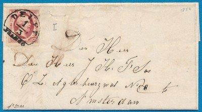 NEDERLAND brief 1852 Delft naar Amsterdam