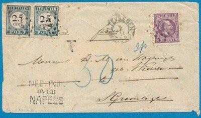 NEDERLANDS INDIË brief 1887 Weltevreden beport 's Gravenhage