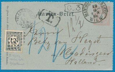 OOSTENRIJK postblad 1888 beport in Vlaardingen