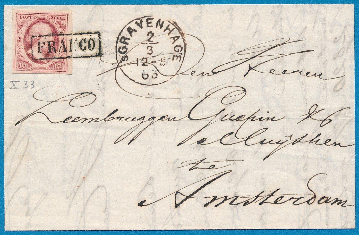 NEDERLAND brief 1863 's Gravenhage naar Amsterdam