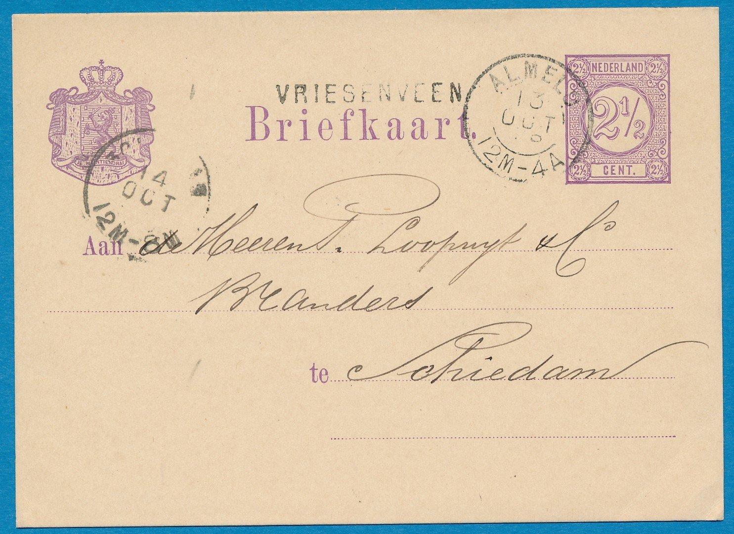 NEDERLAND briefkaart 1878 Vriesenveen naar Schiedam