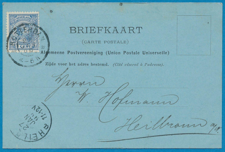 NEDERLAND briefkaart 1899 Rotterdam perfin S&P