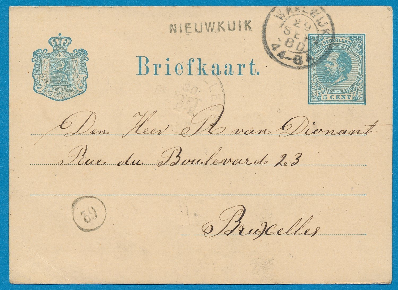 NEDERLAND briefkaart 1880 Nieuwkuik naar België