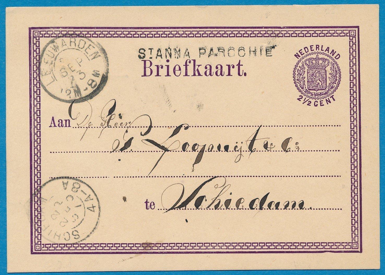 NEDERLAND briefkaart 1873 St Anna Parochie naar Schiedam