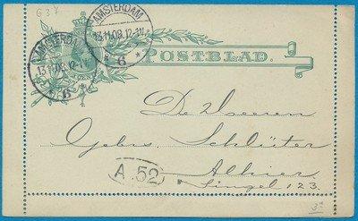 NEDERLAND postblad 1908 lokaal Amsterdam