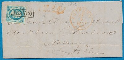 NEDERLAND brief 1862 Zutphen naar Zelhem
