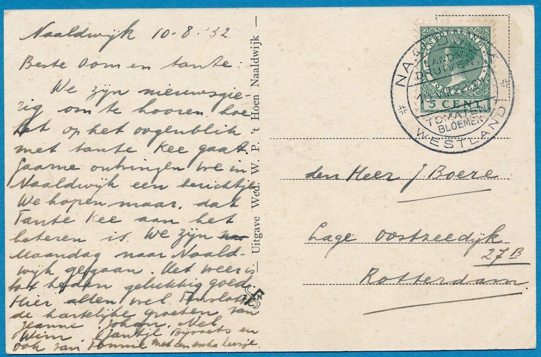 NEDERLAND kaart 1932 Naaldwijk met reclame stempel