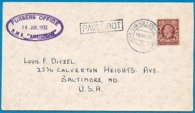 ENGELAND perfin brief 1935 PAQUEBOT Hoek van Holland naar USA