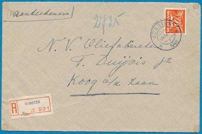 NEDERLAND R brief 1942 Monster naar Koog a/d Zaan