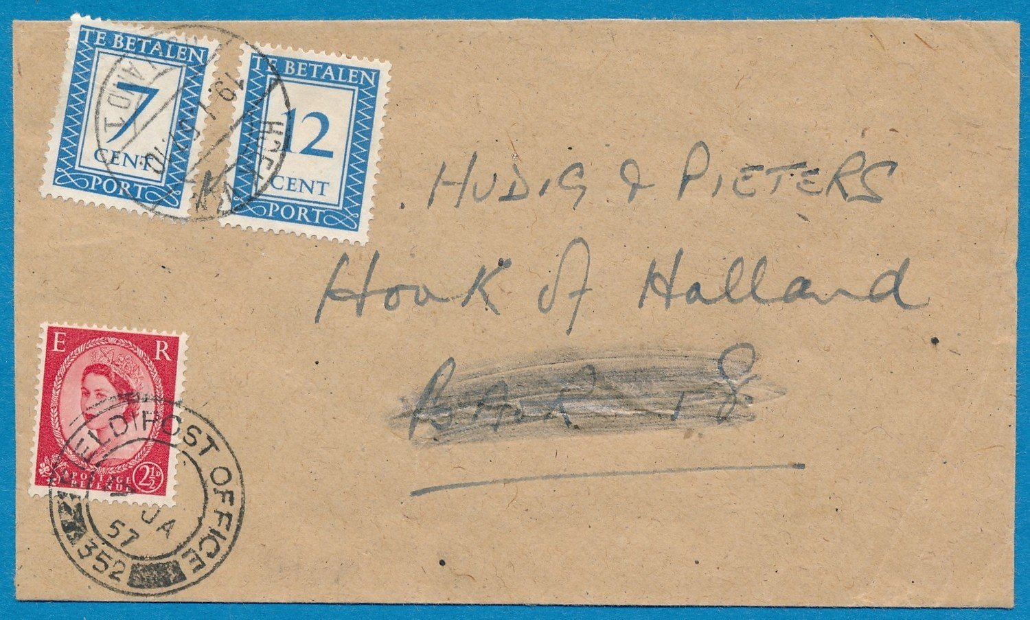 ENGELAND brief 1957 FPO 352 beport Hoek van Holland