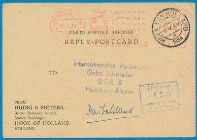 DUITSLAND retour briefkaart 1964 Hamburg naar Hoek van Holland