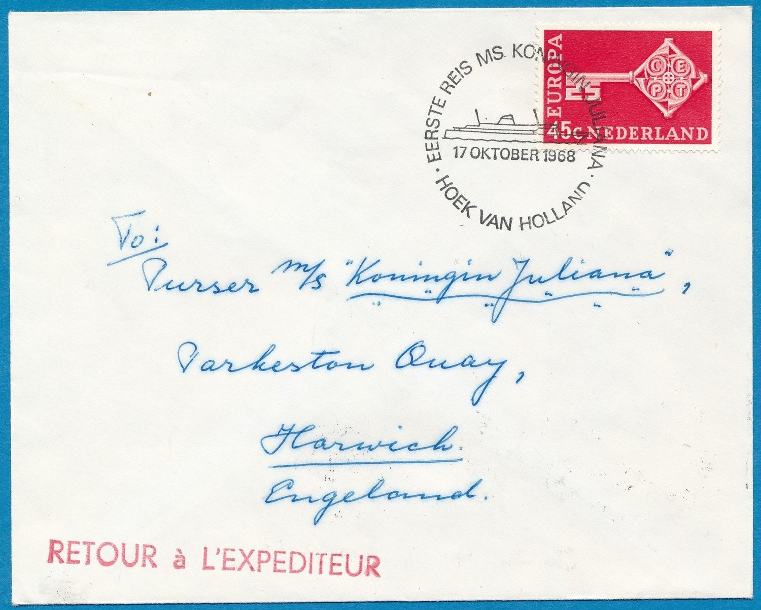 NEDERLAND scheepsbrief 1968 MS Kon. Juliana