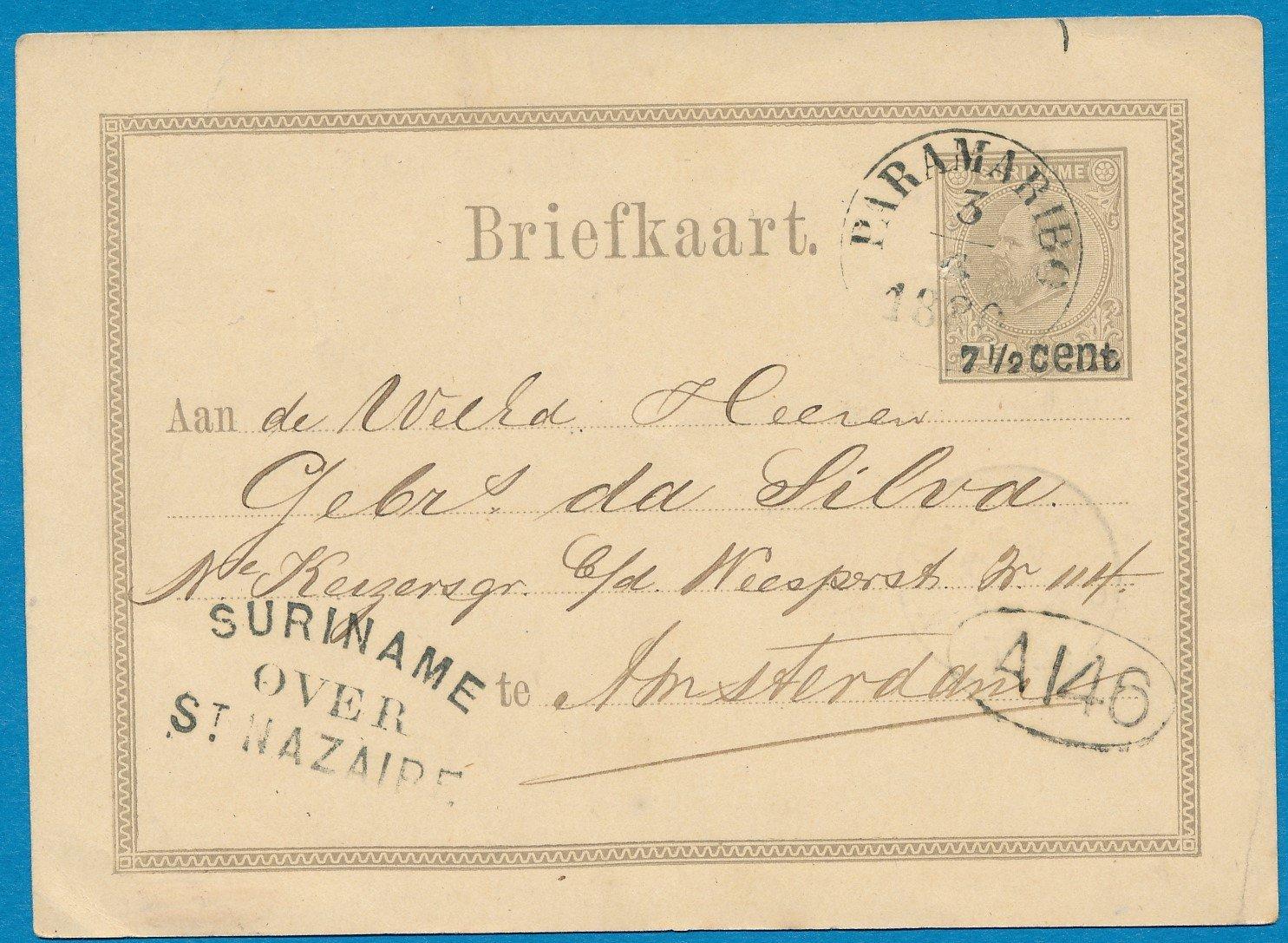 SURINAME briefkaart 1880 Paramaribo naar Amsterdam