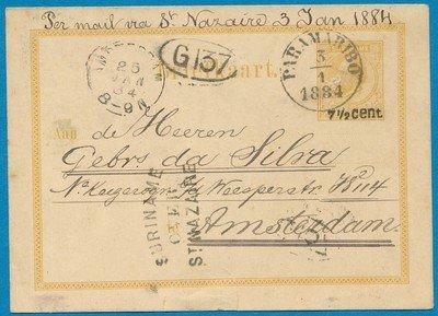 SURINAME briefkaart 1884 Paramaribo naar Amsterdam