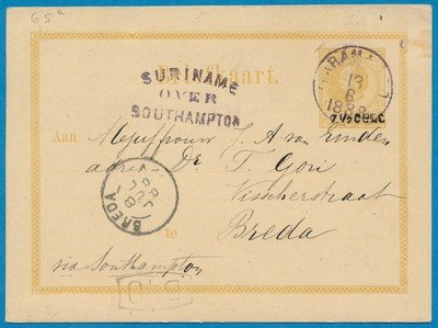 SURINAME briefkaart 1888 Paramaribo naar Breda