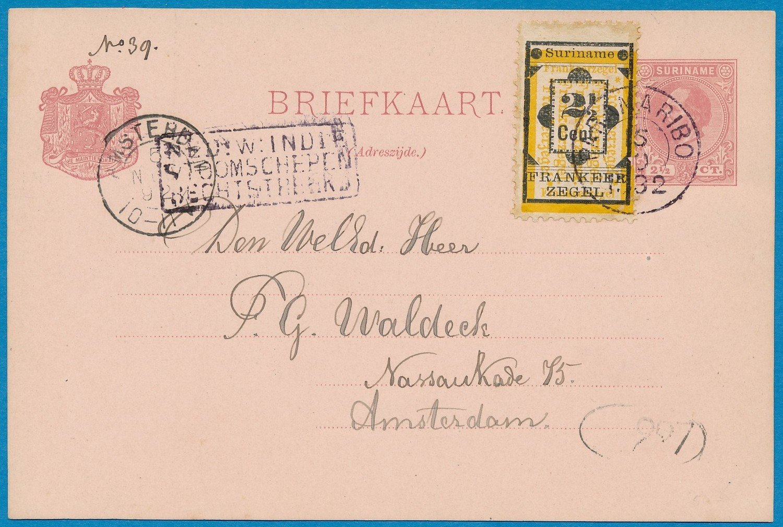SURINAME briefkaart 1892 Paramaribo naar Amsterdam