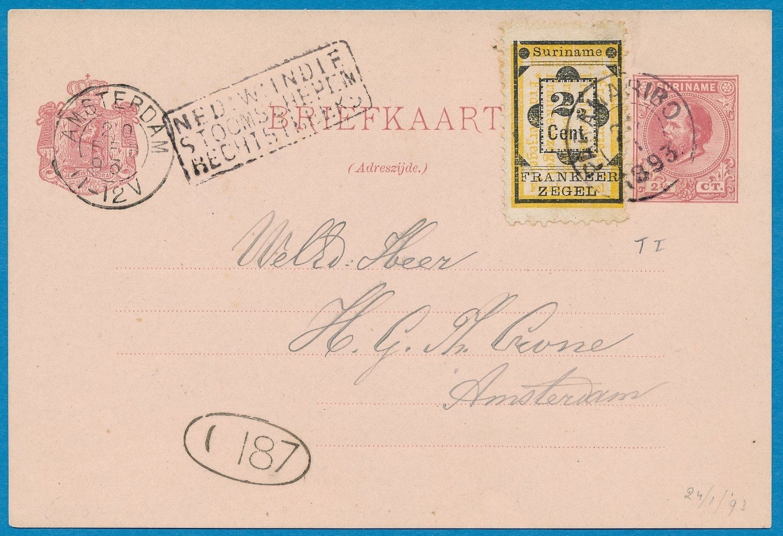 SURINAME briefkaart 1893 Paramaribo naar Amsterdam