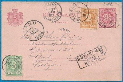 SURINAME briefkaart 1896 Paramaribo naar België