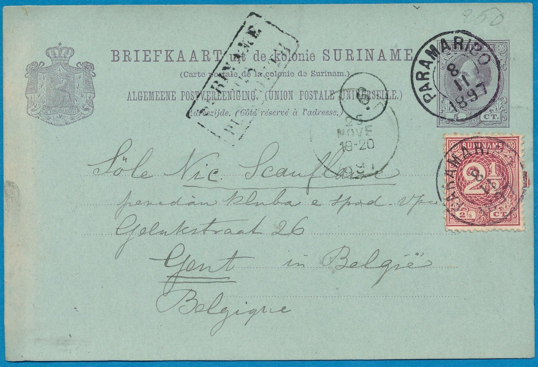 SURINAME briefkaart 1897 Paramaribo naar België