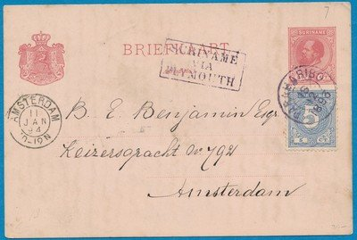 SURINAME briefkaart 1894 Paramaribo naar Amsterdam