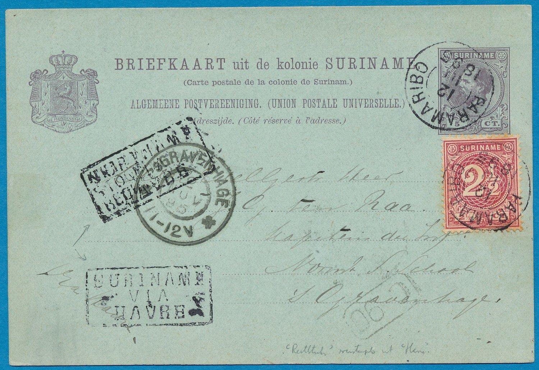 SURINAME briefkaart 1895 Paramaribo naar Den Haag