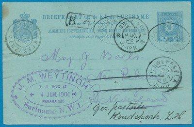 SURINAME briefkaart 1896 Paramaribo naar Nieuwe Pekela