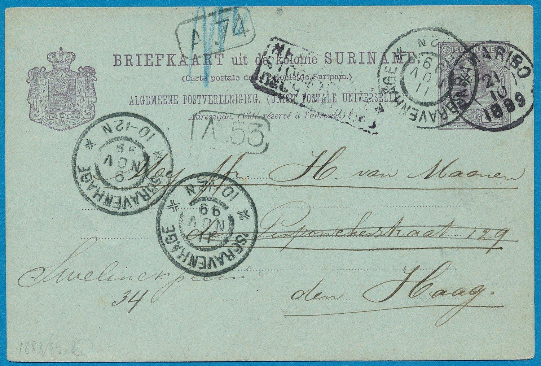 SURINAME briefkaart 1899 Paramaribo naar Den Haag