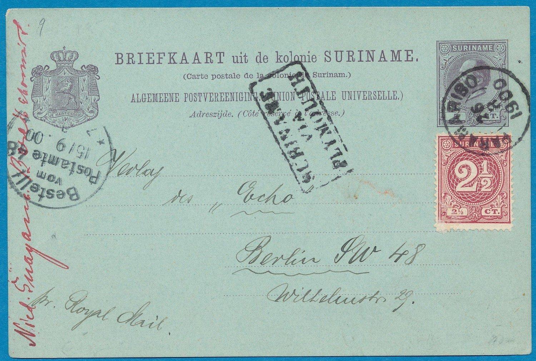 SURINAME briefkaart 1900 Paramaribo naar Duitsland