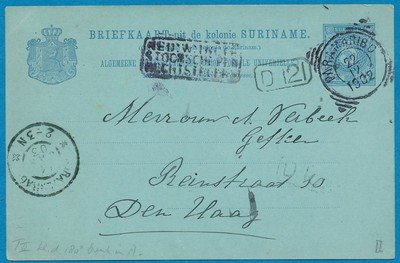 SURINAME briefkaart 1902 Paramaribo naar Den Haag