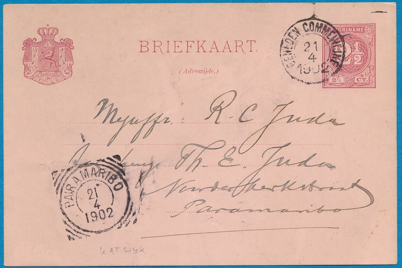 SURINAME briefkaart 1902 Beneden Commewijne plantage Katwijk