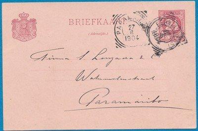 SURINAME briefkaart 1904 Waterland stempel Ferrijdienst