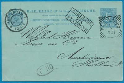SURINAME briefkaart 1904 Paramaribo naar Amsterdam