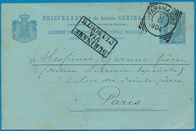SURINAME briefkaart 1904 Paramaribo naar Frankrijk