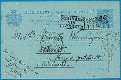 SURINAME briefkaart 1904 Villa Sabaku naar Nederland