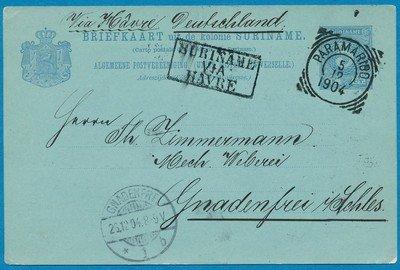 SURINAME briefkaart 1904 Paramaribo naar Duitsland