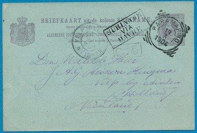 SURINAME briefkaart 1904 Paramaribo naar Velp