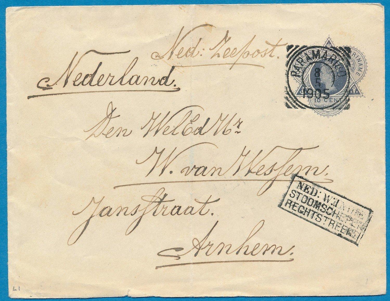 SURINAME envelop 1905 Paramaribo naar Arnhem