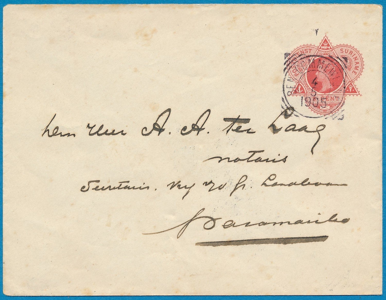 SURINAME envelop 1905 Beneden Commewijne naar Paramaribo