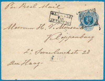SURINAME envelop 1905 Paramaribo naar Den Haag