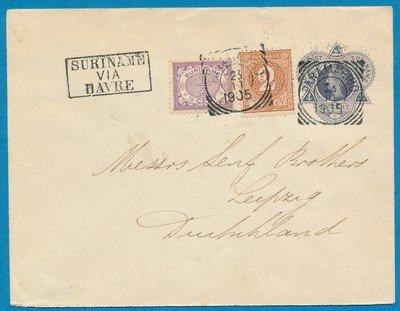 SURINAME envelop 1905 Paramaribo naar Duitsland